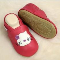 Lederpuschen mit vollgummi - #123 Katze in rot