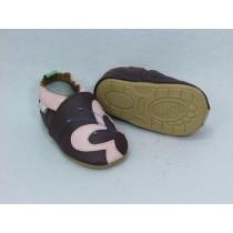 Liya's Lauflernschuhe Lederpuschen mit vollgummi - #284 Schmetterling in braun