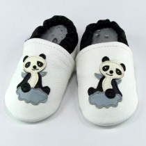 Liya's Lederpuschen mit Ledersohle - #502 Panda