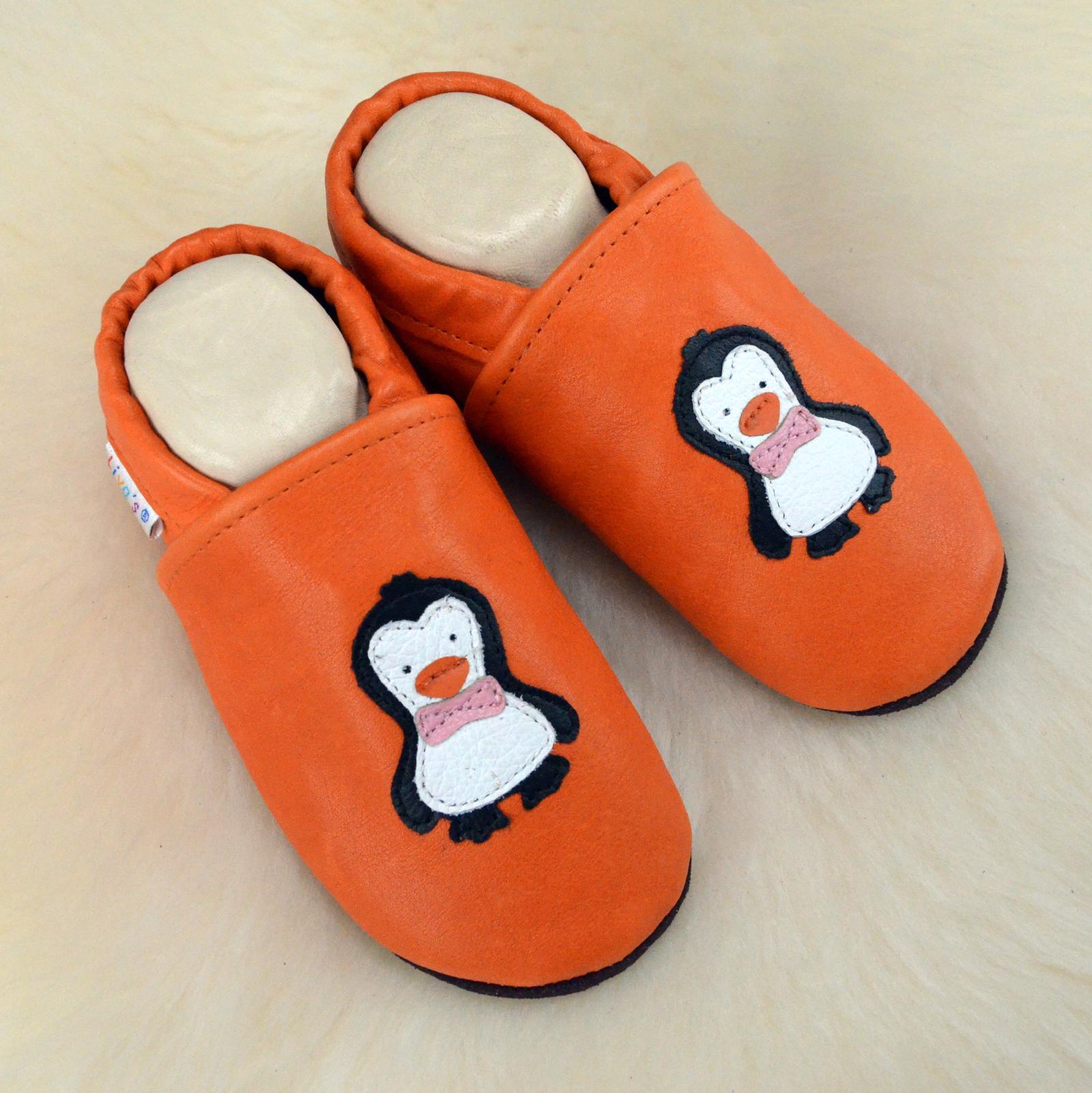 Liya/'s Lederpuschen Hausschuhe Lauflernschuhe  Kindergartenschuhe #521 Pinguin
