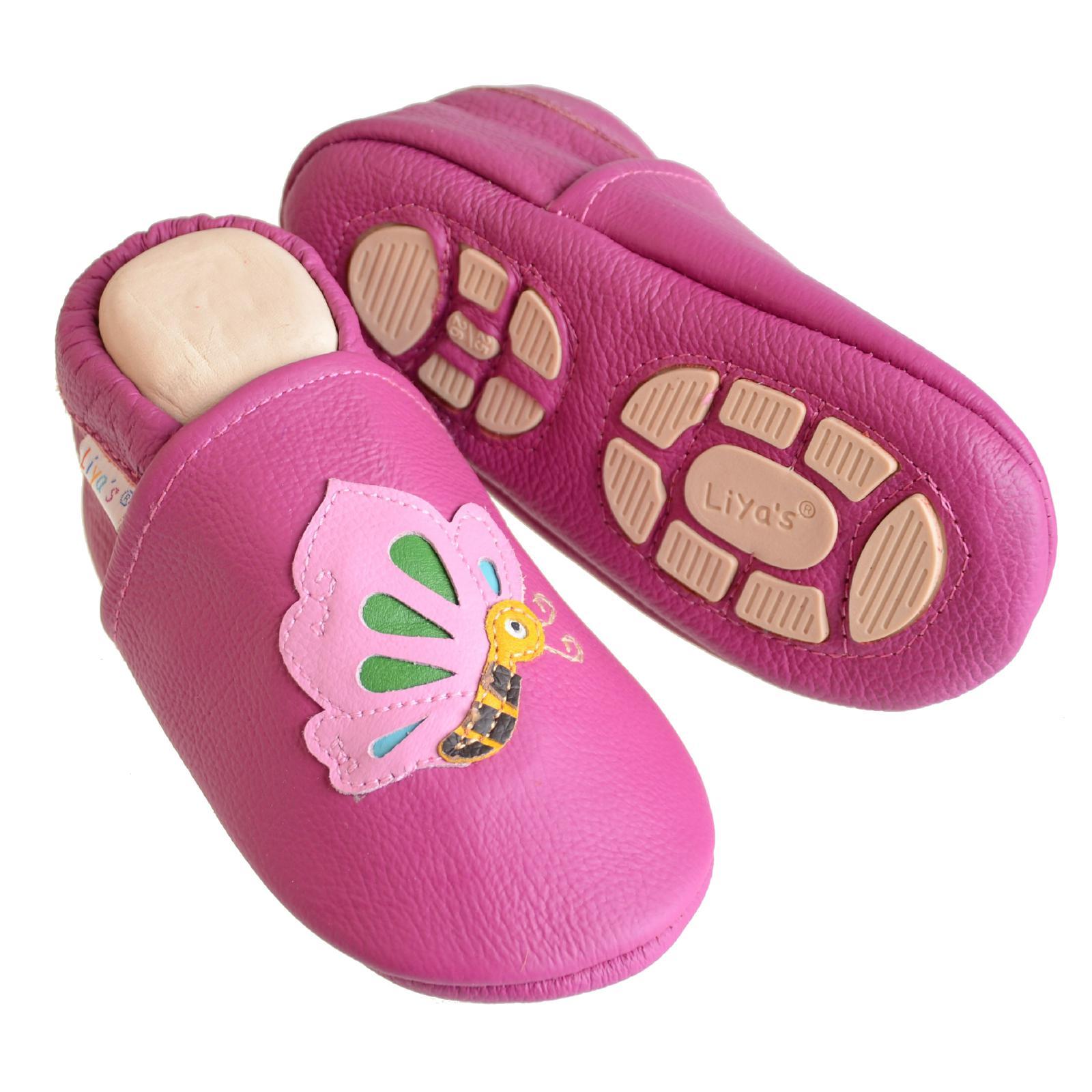 Liya/'s Babyschuhe Lederpuschen Lauflernschuhe #661 Schmetterling in pink