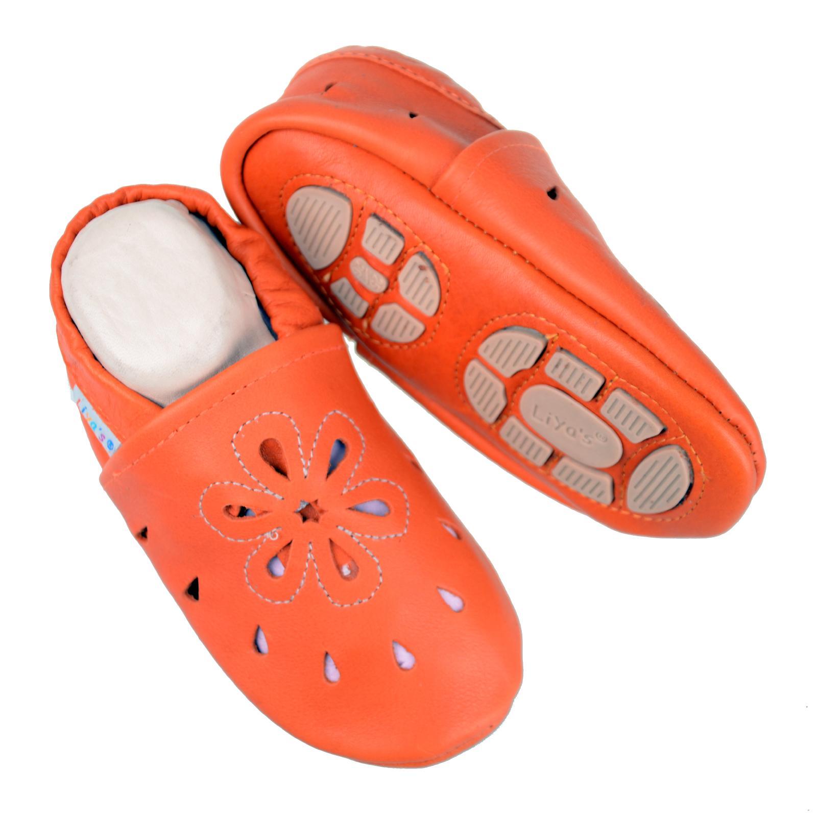 angemessener Preis dauerhafte Modellierung heiße Angebote Details zu Liya's Babyschuhe Hausschuhe Lederpuschen - #637 Große Blume in  orange