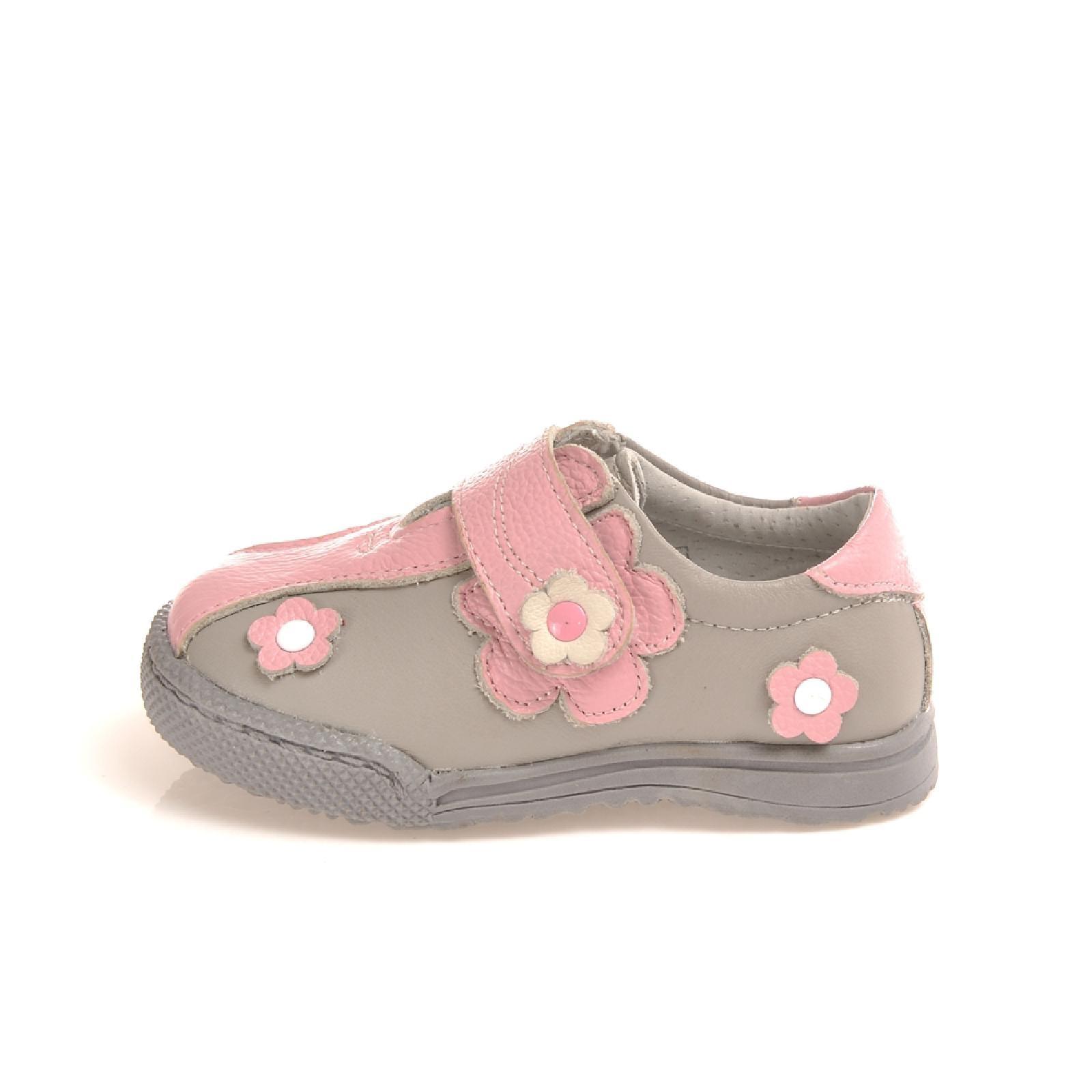 b0a2b3c1364142 Caroch Mädchen Sneaker Kinderschuhe aus Leder in rosa hellgrau ...