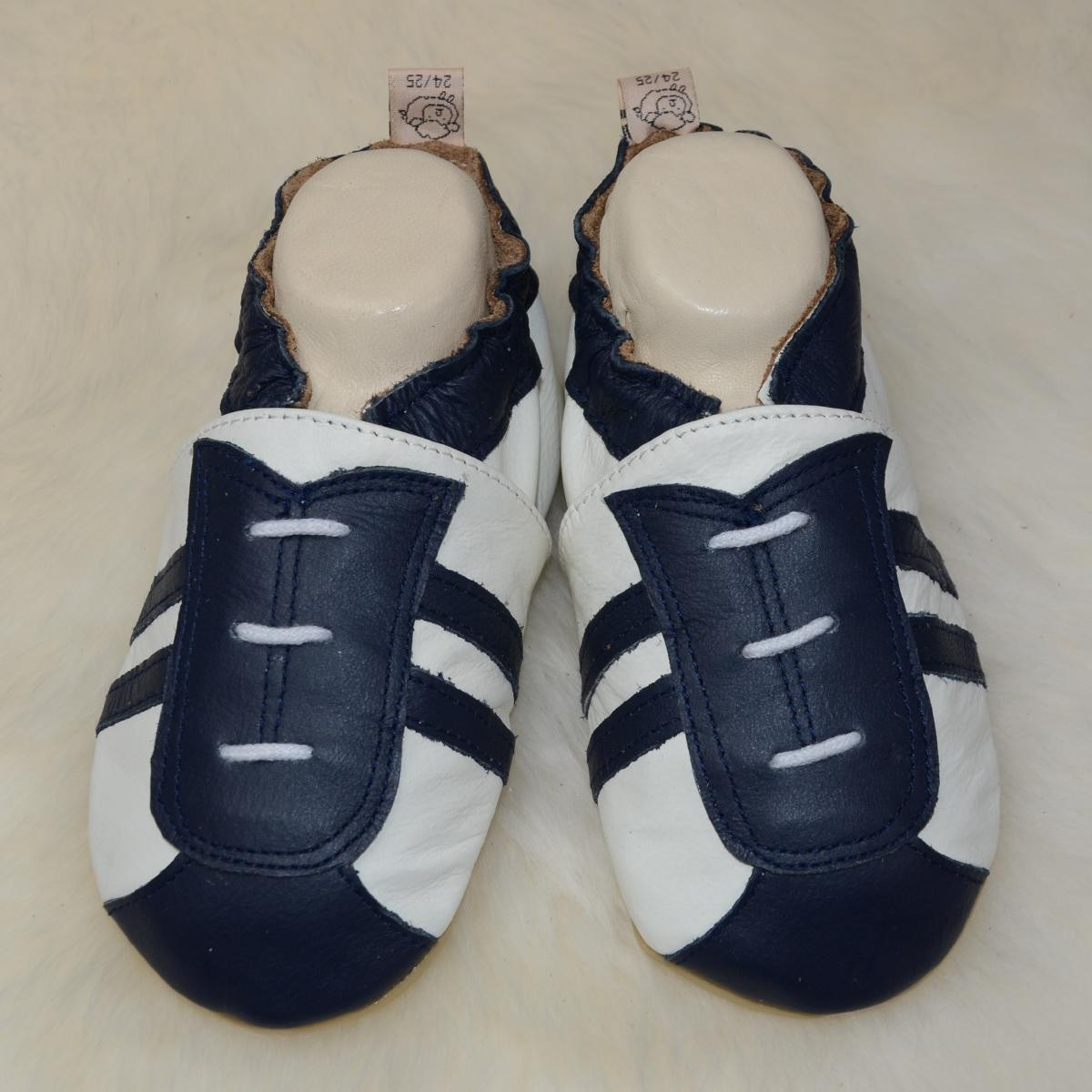 #207 Sportlook weiß//blau Liya/'s Lauflernschuhe Lederpuschen mit vollgummi