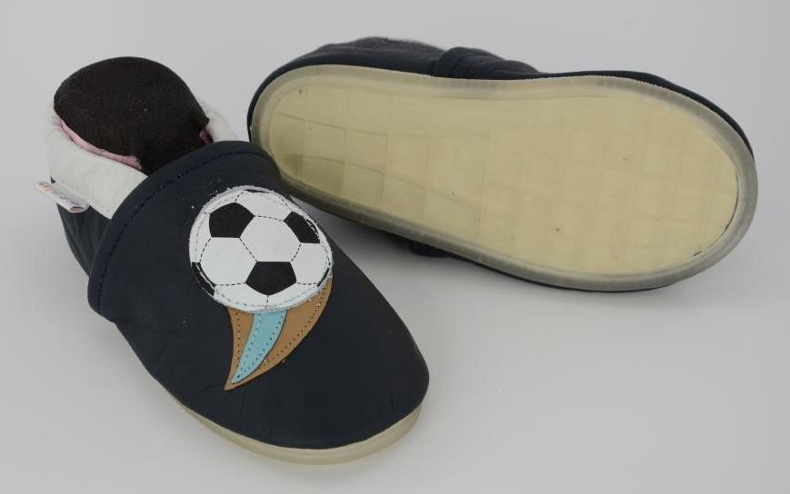 Liya's Leder Hausschuhe mit Vollgummi -  #758 Fußball in dunkelblau