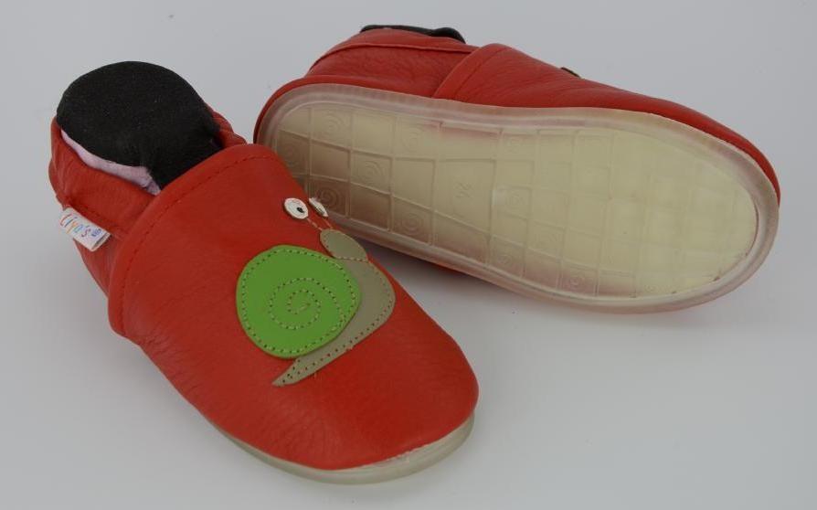 Liya's Lederpuschen mit Vollgummi -  #770 Schnecke in rot