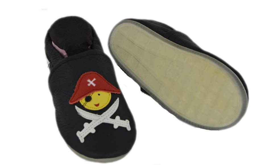 Liya's Lederpuschen mit Vollgummi -  #780 Pirat in schwarz