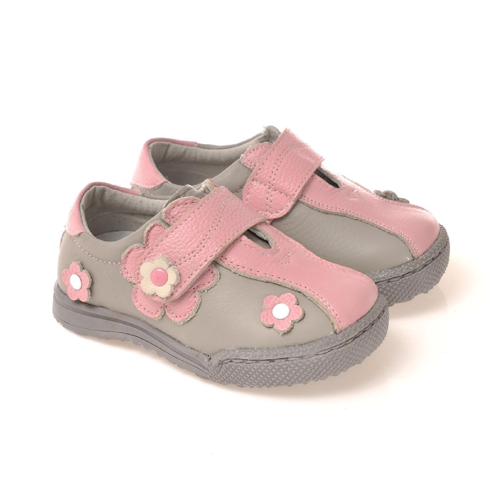 8dd0a939fed87b Caroch Mädchen Sneaker Kinderschuhe aus Leder in rosa hellgrau -  Lauflernschuhe Halbschuhe