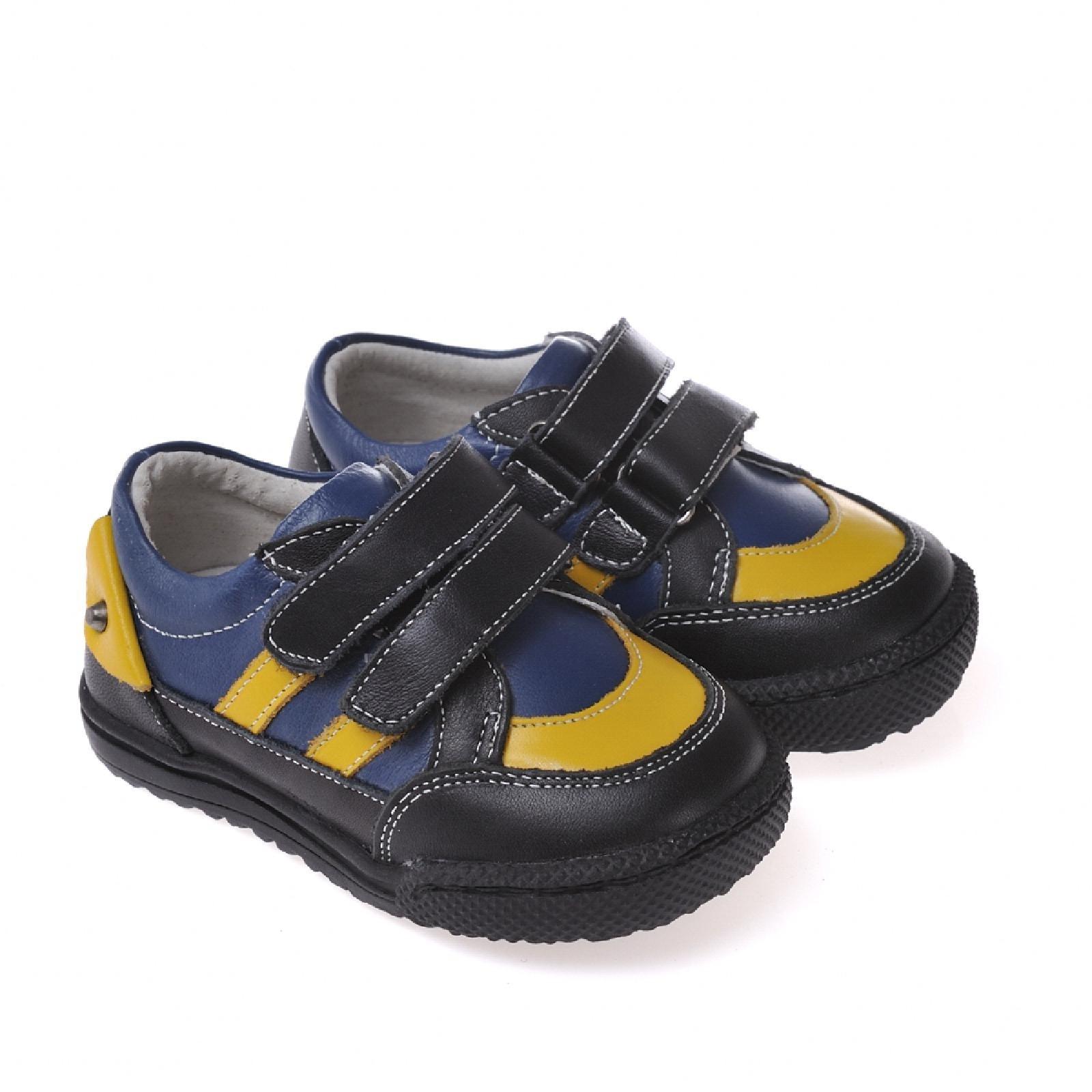 Caroch Jungen Sneaker  Kinderschuhe aus Leder in schwarz/blau