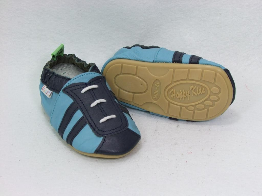 Liya's Lauflernschuhe Lederpuschen mit vollgummi - #207a Sportlook blau/dunkelblau