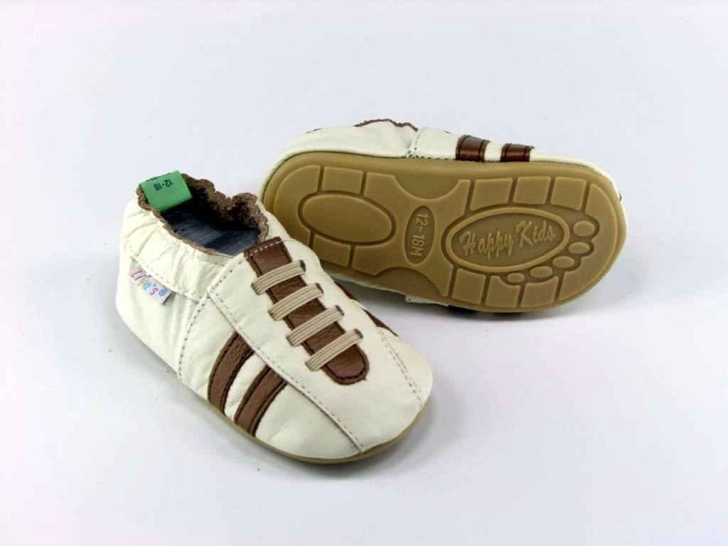 #208 Sneaker in beige Liya/'s Lauflernschuhe Lederpuschen mit vollgummi
