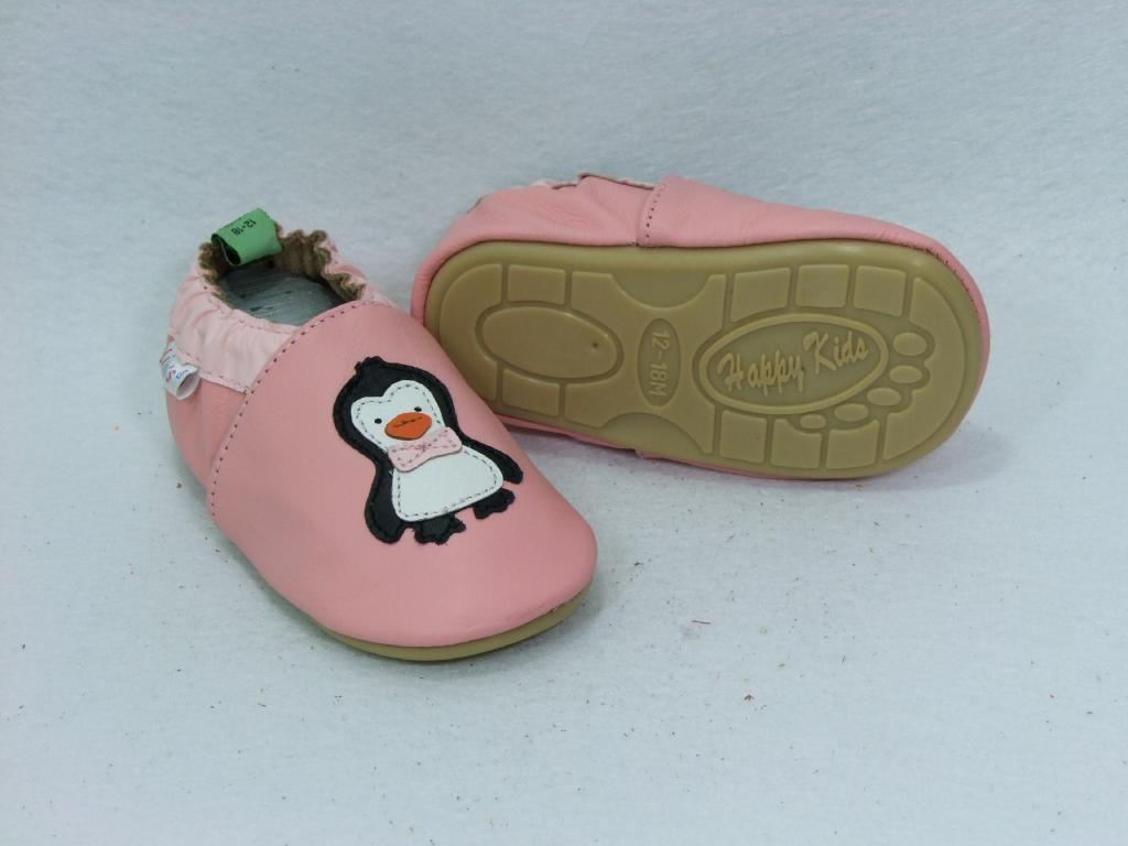 Liya's Lauflernschuhe Lederpuschen mit vollgummi - #221 - Pinguin in rosa