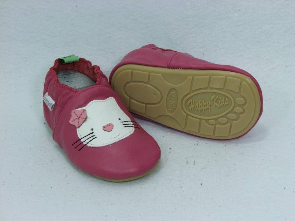 Liya's Lauflernschuhe Lederpuschen mit vollgummi - #223 - Katze in pink