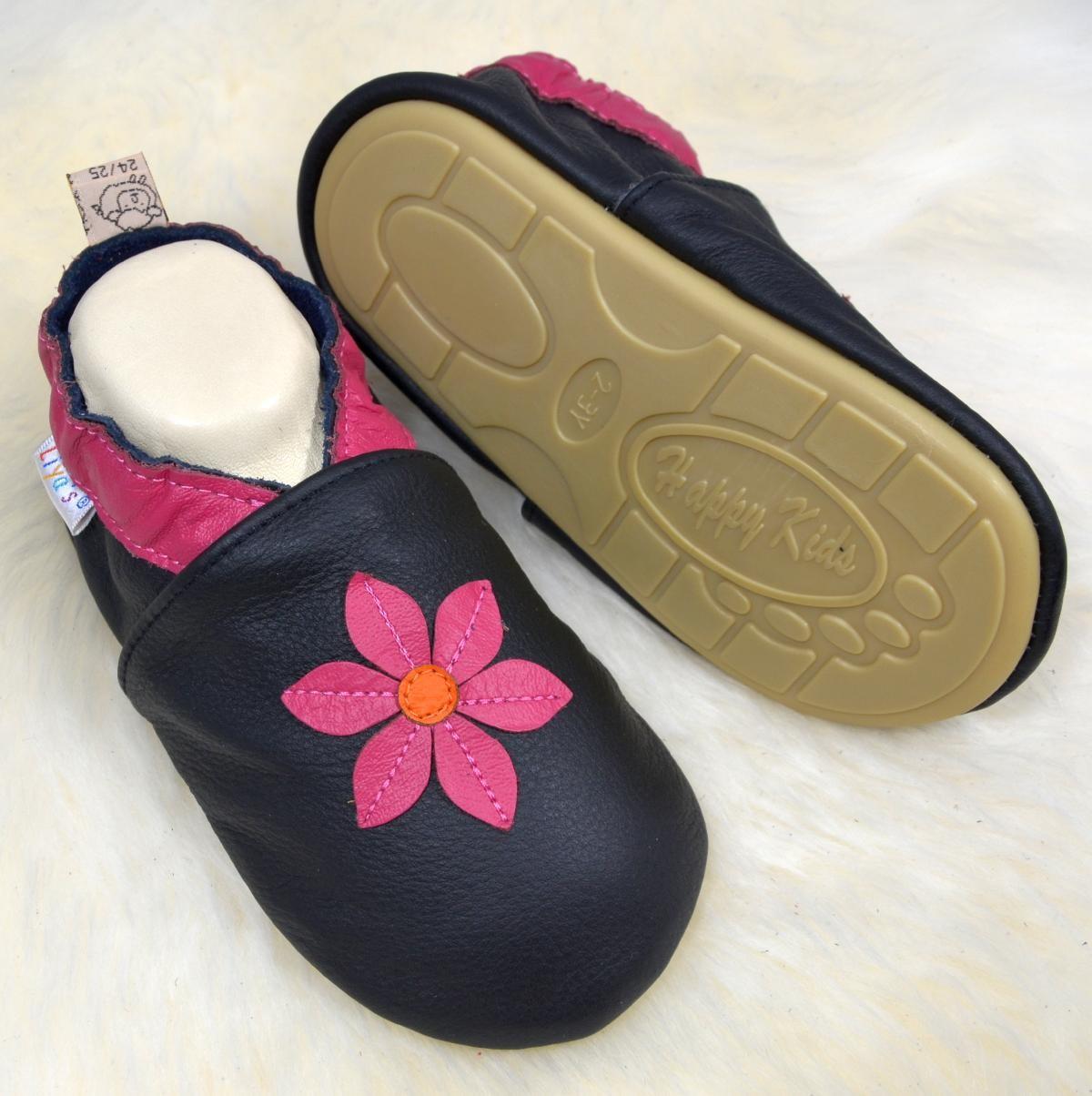 Liya's Krabbelschuhe Lederpuschen mit vollgummi - #291 Pinkblume in schwarz