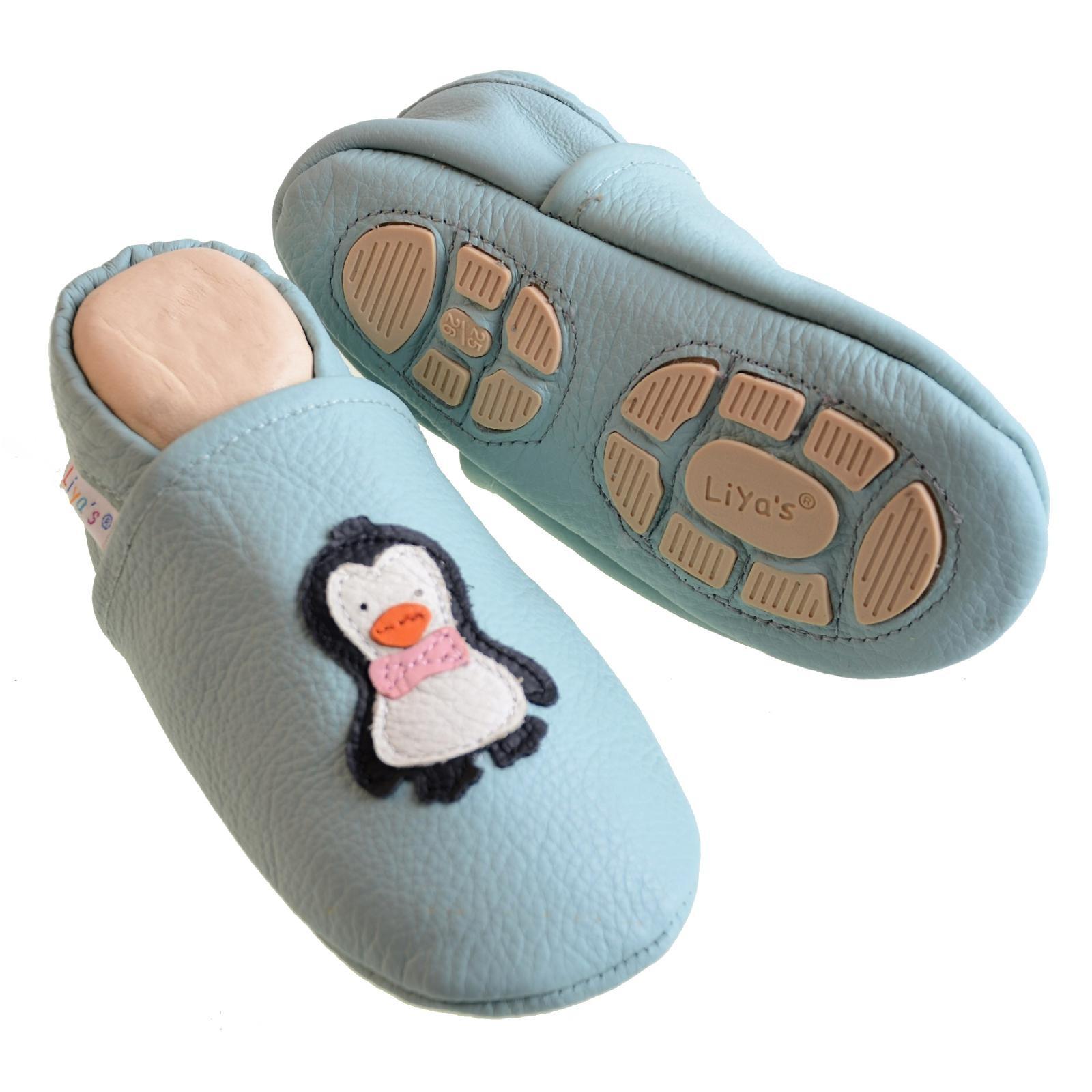 #621 Pinguin in terrakotta Liya/'s Krabbelschuhe Hausschuhe Lederpuschen