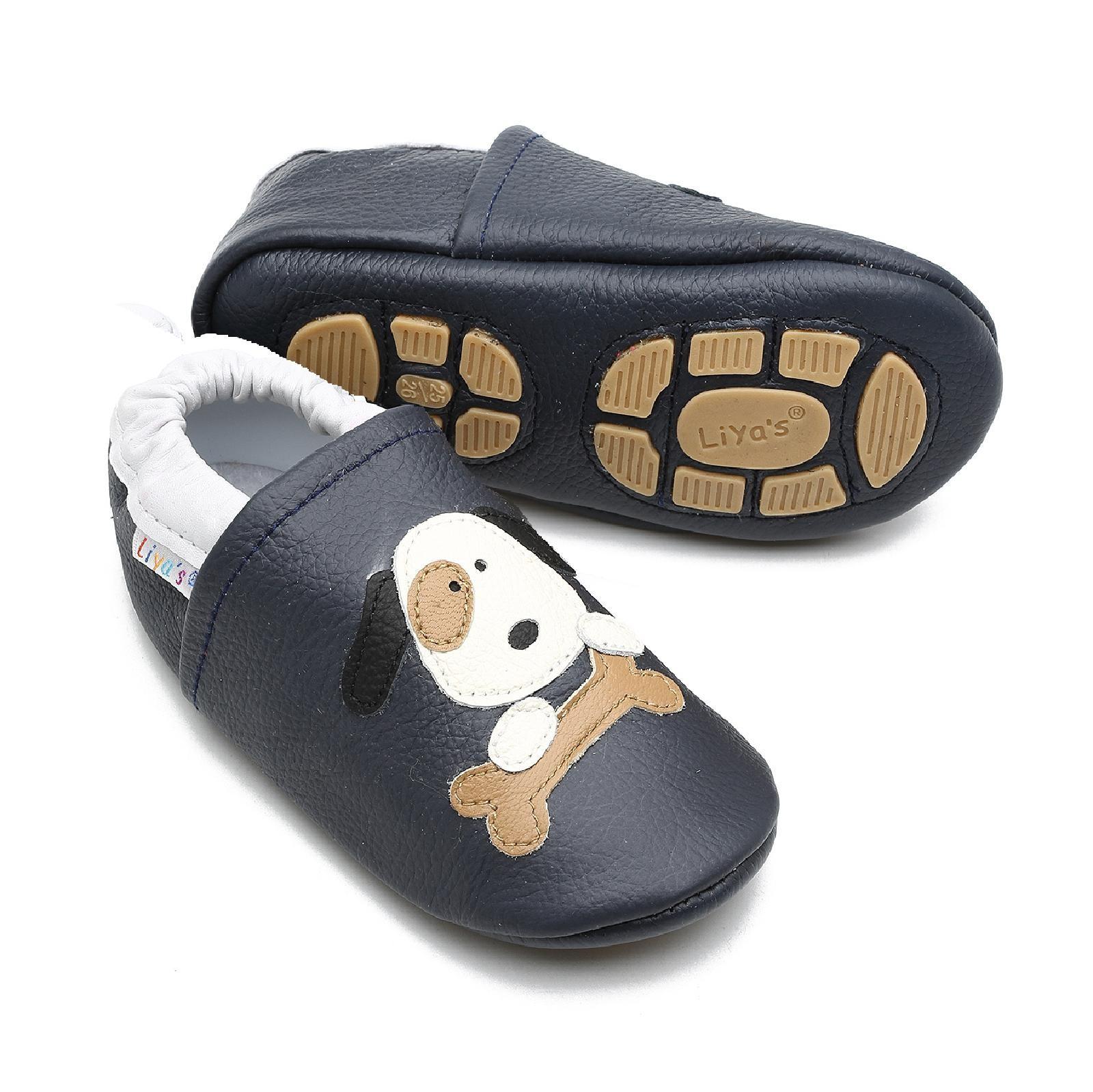 Liya's Hausschuhe Lederpuschen mit Teilgummisohle - #646 Hund in dunkelblau