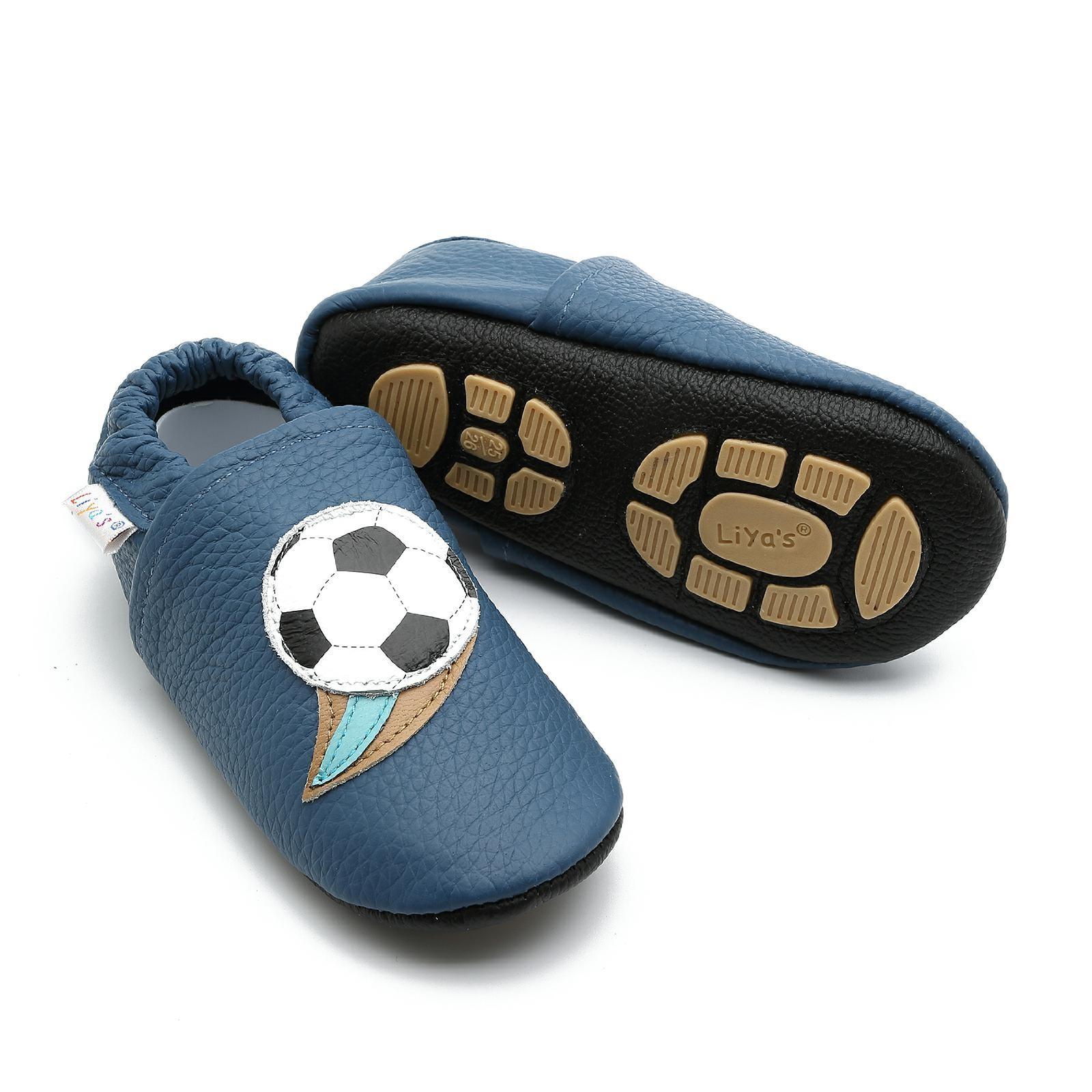 Liya's Hauschuhe mit Gummisohle - #658 Fußball in blau