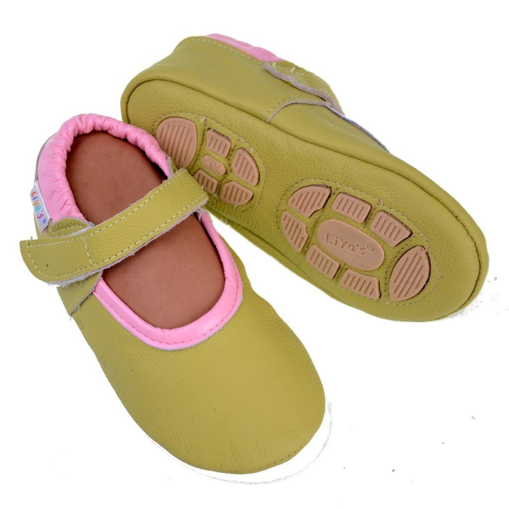 Liya's Lederpuschen mit Gummisohle - #692 Ballerinas in gelbgrün