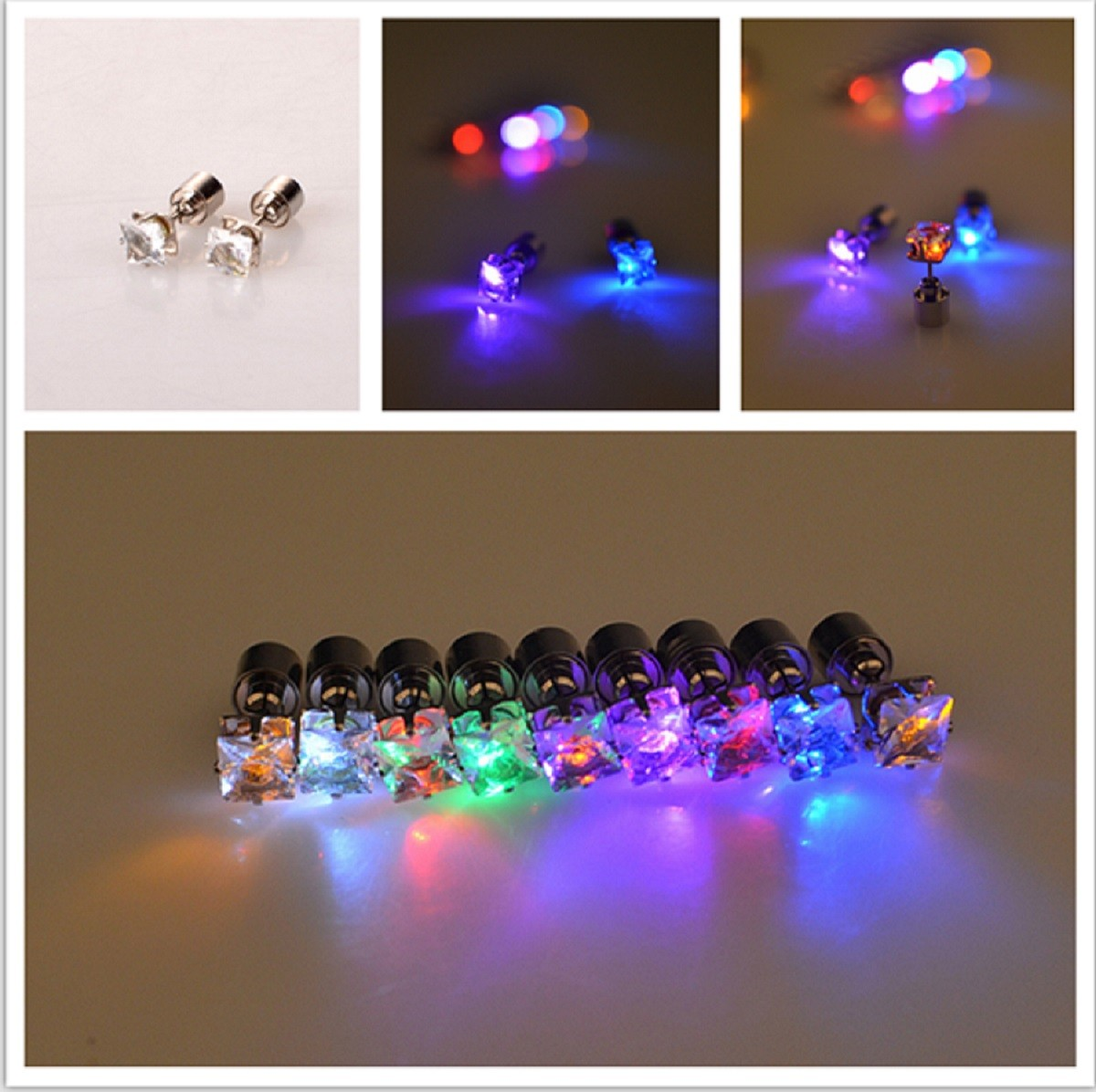 leuchtende LED Ohrstecker Zirkonia Quadrat Ohrringe  Modeschmuck