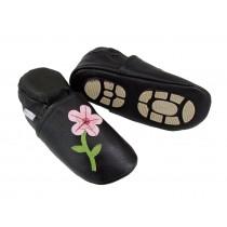 Liya's Lederpuschen mit Gummisohle - #685 Rosa Blume in braun