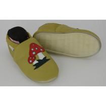 Liya's Leder Hausschuhe mit Vollgummi -  #711 Fliegenpilz in senfgrün