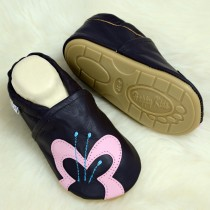 Liya's Lederpuschen mit vollgummi - #184 Großer Schmetterling in braun