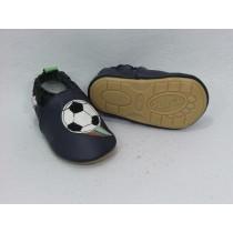 Liya's Krabbelschuhe Lederpuschen mit vollgummi - #254 Fußball in blau
