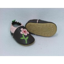 Liya's Lauflernschuhe Lederpuschen mit vollgummi - #285 Rosa Blume in braun