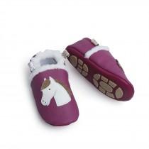 Liya's gefütterte Lederpuschen mit Teilgummisohle - #339 Pferde in pink