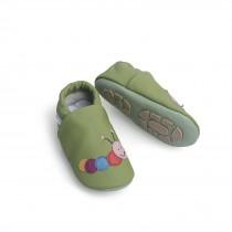 Liya's Hausschuhe Lederpuschen mit Teilgummisohle - #606 bunte Raupe in olivgrün