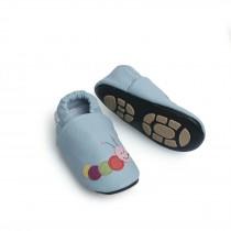 Liya's Hausschuhe Lederpuschen mit Teilgummisohle - #606 bunte Raupe in hellblau