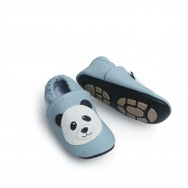 Liya's Hausschuhe Lederpuschen mit Teilgummisohle - #607 panda in hellblau