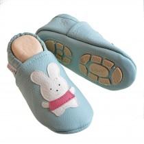 Liya's Hausschuhe Lederpuschen mit Teilgummisohle -  #615 Hase in babyblau