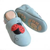 Liya's Hausschuhe Lederpuschen mit Teilgummisohle -  #616 Marienkäfer in babyblau