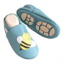 Liya's Hausschuhe Lederpuschen mit Teilgummisohle -  #617 Biene in Minttürkis