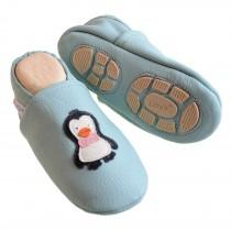 Liya's Hausschuhe Lederpuschen mit Teilgummisohle - #621 Pinguin in babyblau