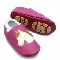 Liya's Hausschuhe Lederpuschen mit Teilgummisohle - #639 Pferd in pink