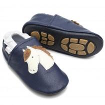 Liya's Lederpuschen mit Gummisohle - #639a Pferd in dunkelblau