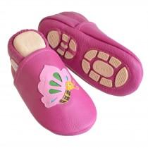 Liya's Hauschuhe mit Gummisohle - #661 Schmetterling in pink