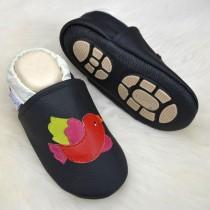 Liya's Hauschuhe mit Gummisohle - #662  Vogel in schwarz