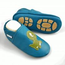 Liya's Lederpuschen mit Gummisohle - #665 Kleiner Dino in dunkelblau