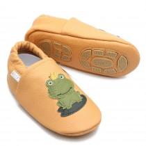 Liya's Lederpuschen mit Gummisohle - #687 Frosch in gelbbraun