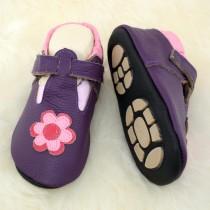 Liya's Babyschuhe Hausschuhe Exclusiv mit Gummisohle - #693 Sommerpuschen mit Blume in violett