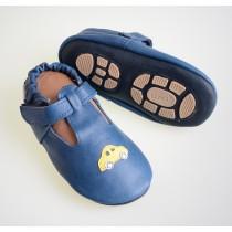 Liya's Lederpuschen mit Gummisohle und Klettverschluss- #693 Auto in blau