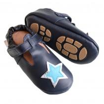 Liya's Hauschuhe mit Gummisohle - #696 Sommerpuschen Stern in dunkelblau