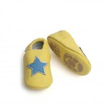 Liya's Hausschuhe Lederpuschen mit Teilgummisohle - #696 Stern in gelb