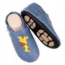 Liya's Sommerpuschen mit Gummisohle - #698a Giraffe in hellblau