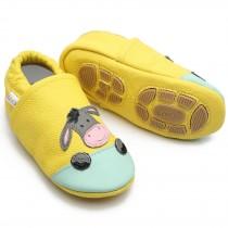 Liya's Hausschuhe Lederpuschen mit Teilgummisohle - #699 Esel in gelb