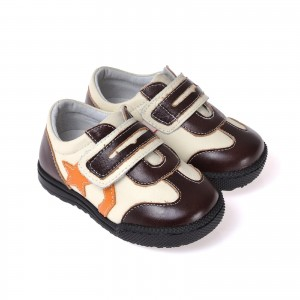 Caroch Kinderschuhe Jungen Sneaker aus Leder in braun/beige