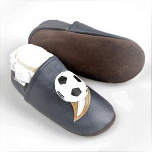 Liya's Lederpuschen mit Ledersohle - #558 Fußball in blau